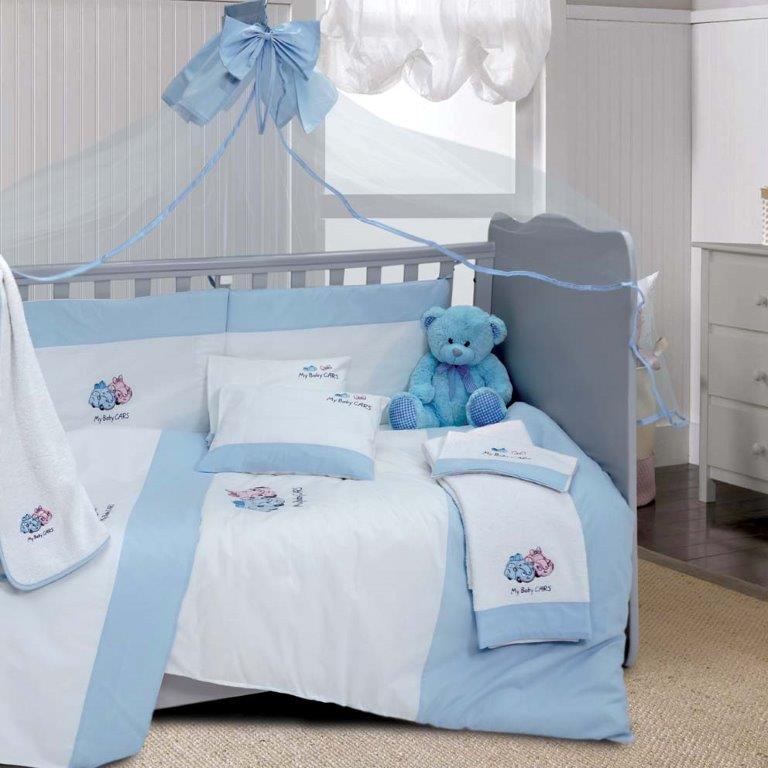 Σετ Κούνιας 6τμχ Βαμβακερά My Baby Car Blue Sb home (Ύφασμα: Βαμβάκι 100%, Χρώμα: Μπλε) – Sb home – 5206864055803