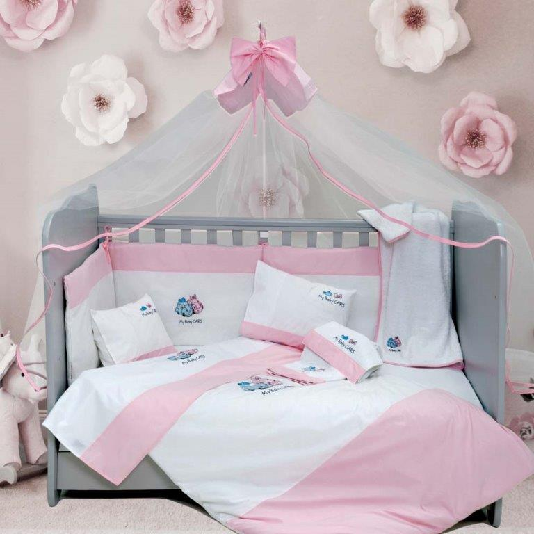 Σετ Κούνιας 6τμχ Βαμβακερά My Baby Car Pink Sb home (Ύφασμα: Βαμβάκι 100%, Χρώμα: Ροζ) – Sb home – 5206864055810