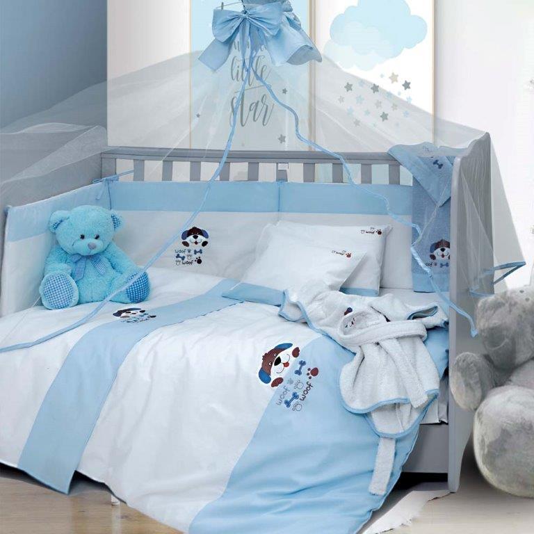 Σετ Κούνιας 6τμχ Βαμβακερά Pluto Blue Sb home (Ύφασμα: Βαμβάκι 100%, Χρώμα: Μπλε) – Sb home – 5206864055872