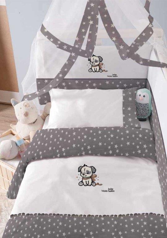 Σετ Κούνιας 6τμχ Baby Βαμβακερά Puppy Makis Tselios (Ύφασμα: Βαμβάκι 100%, Χρώμα: Γκρι) – Makis Tselios – 116460123456