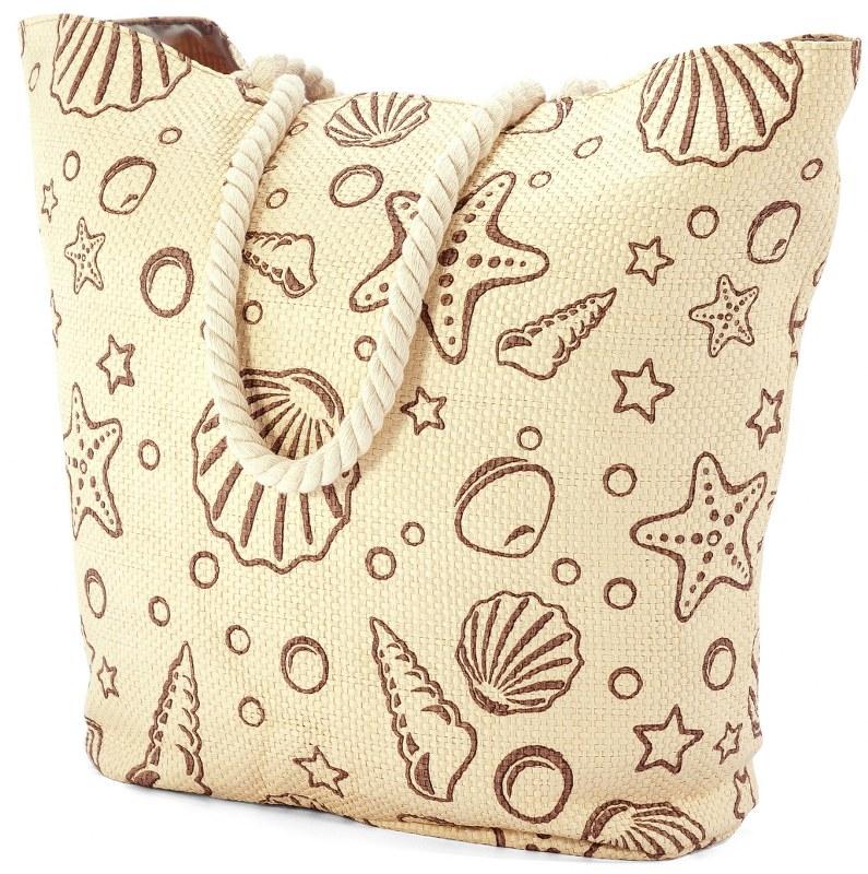 Τσάντα Θαλάσσης benzi 52x40x19εκ. 5019 - benzi - bz-5019-beige-seashell λευκα ειδη θαλάσσης τσάντες θαλάσσης