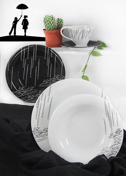 Σερβίτσιο Πορσελάνης Black Rain 20 Τεμαχίων - AB - 6-653-20 κουζινα πιάτα   σερβίτσια