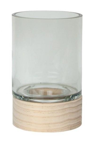 Κηροπήγιο Γυάλινο με Ξύλινη Βάση Gallery S&P – Salt & Pepper – BAM41916