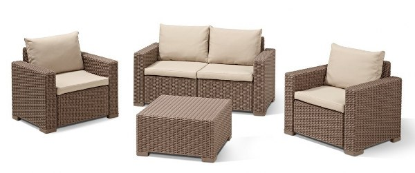 Σετ Κήπου 4τμχ Wicker California Lounge Set Brown - Allibert - california-lounge-set-brown