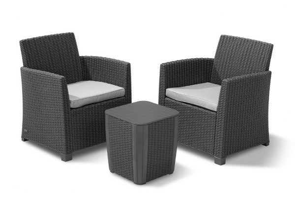 Σετ Μπαλκονιού 3τμχ Wicker Corona Balcony Set Graphite – Allibert – corona-balcony-set-graphite