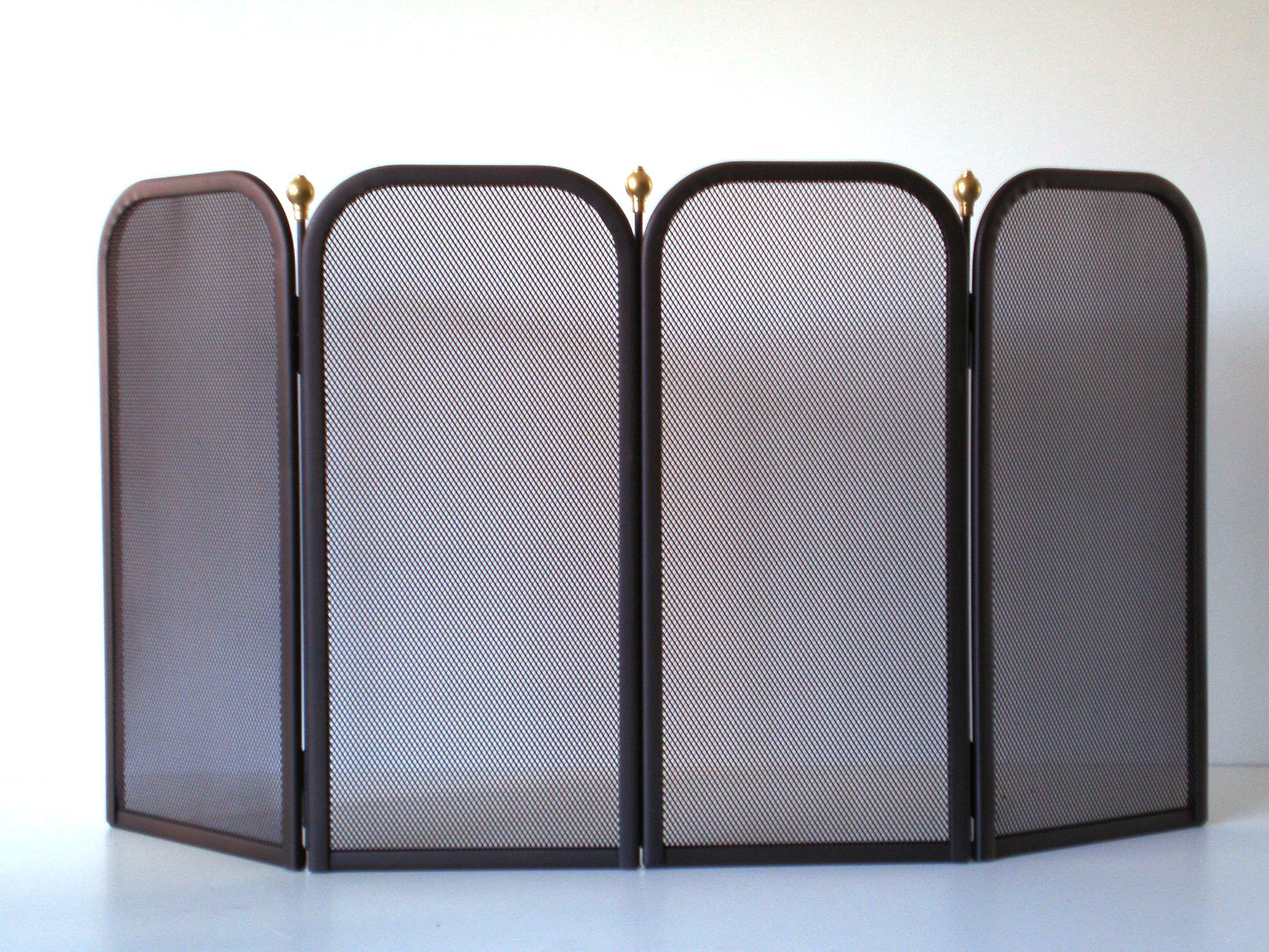 """Προστατευτικό Παραβάν Τζακιού """"Oro Μπίλια 4φυλλο Σκουριά"""" - Β - 3-130_4φυλλο διακοσμηση σαλόνι είδη τζακιού"""
