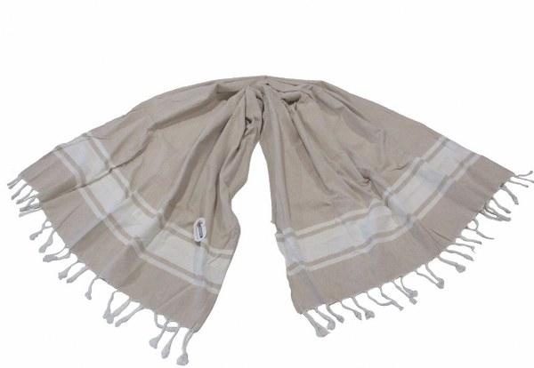 Πετσέτα Θαλάσσης – Παρεό 2 Όψεων – OEM – pareo-riga-beige