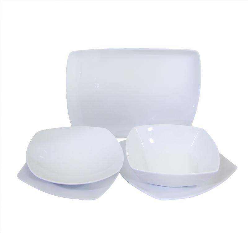 Σερβίτσιο Πορσελάνης 20 Τεμαχίων - AB - 6-tetragono_leyko-20 κουζινα πιάτα   σερβίτσια