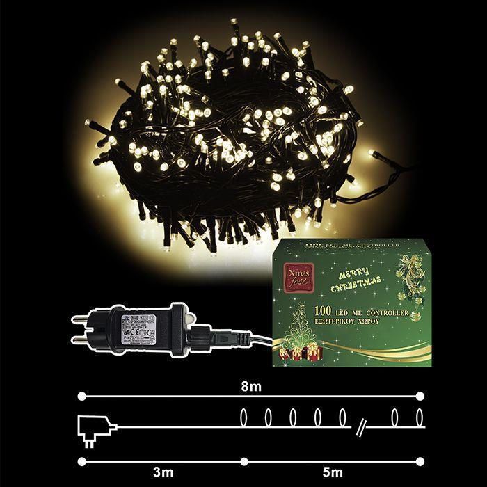 Λαμπάκια Λευκά 100 LED Εξωτερικού Χώρου Με Πρόγραμμα - OEM - 93.1001 χριστουγεννιατικα δέντρα   λαμπάκια