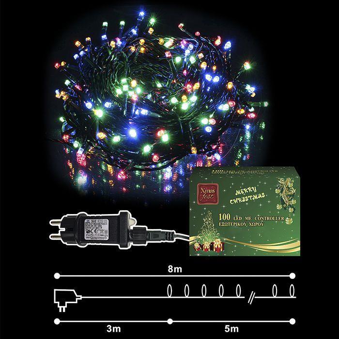 Λαμπάκια Χρωματιστά 100 LED Εξωτερικού Χώρου Με Πρόγραμμα – OEM – 93.1002