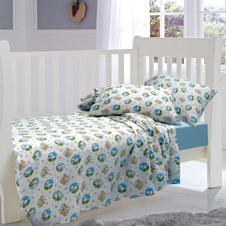 Σετ Σεντόνια Bebe 120x160εκ. Elvin Blue Sb home - Sb home - 5206864041509 λευκα ειδη παιδί σεντόνια μπεμπέ