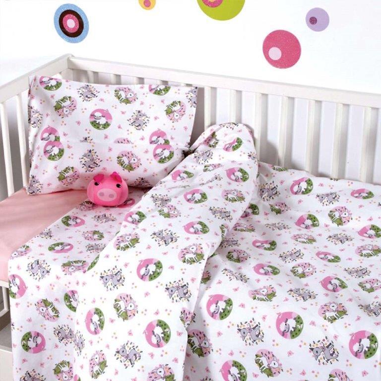Σετ Σεντόνια Bebe 120x160εκ. Elvin Pink Sb home - Sb home - 5206864041523 λευκα ειδη παιδί σεντόνια μπεμπέ