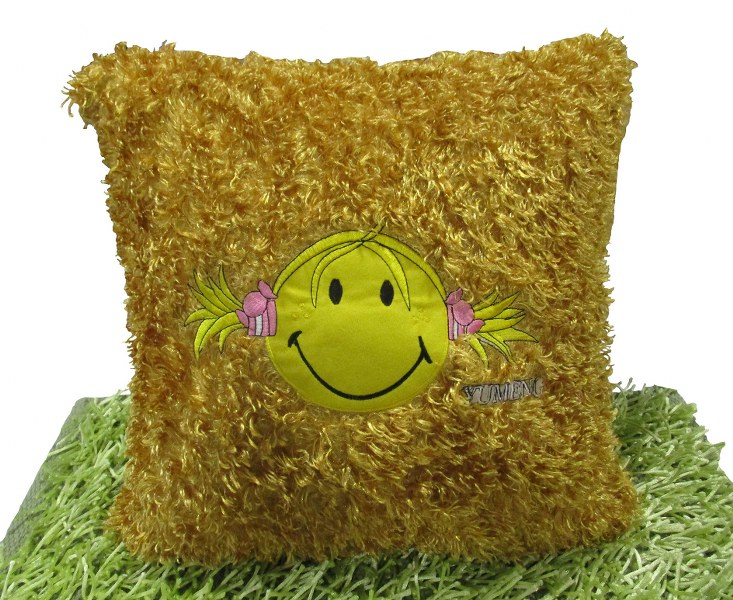 Διακοσμητική Μαξιλαροθήκη 45x45εκ. Happy Face Gold (Ύφασμα: Polyester) - OEM - happy-face-gold