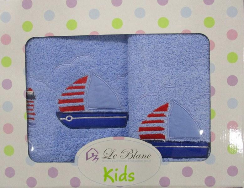 Πετσέτες Bebe Σετ 2τμχ Βαμβακερές Le Blanc Boat Blue (Ύφασμα: Βαμβάκι 100%, Χρώμα: Μπλε) – Le Blanc – boat-blue