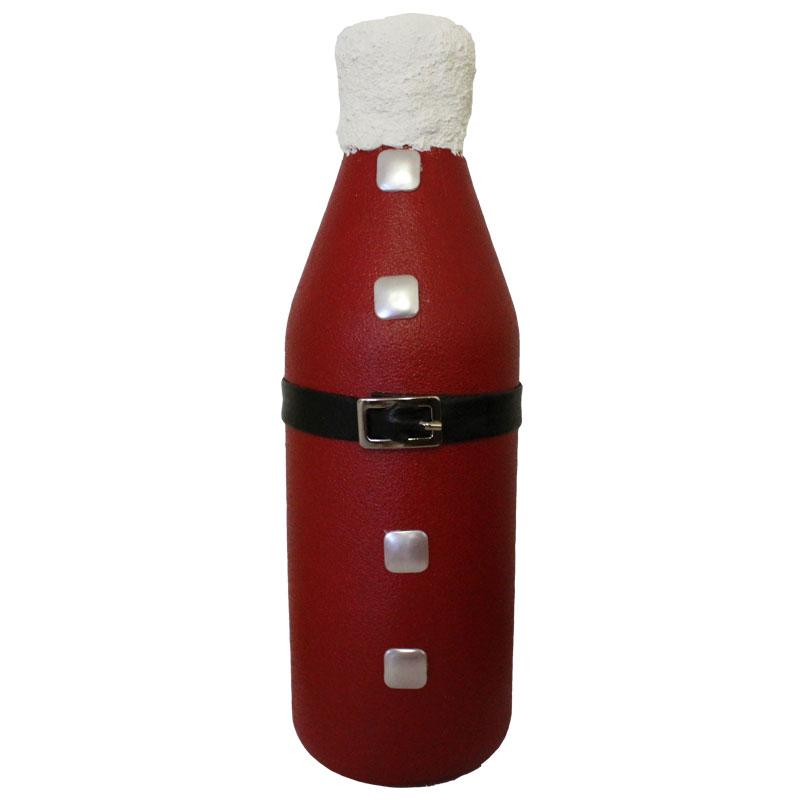 """Χριστουγεννιάτικο Διακοσμητικό Μπουκάλι Χειροποίητο """"Santa"""" 28εκ. - OEM - santa-  red details make the difference"""