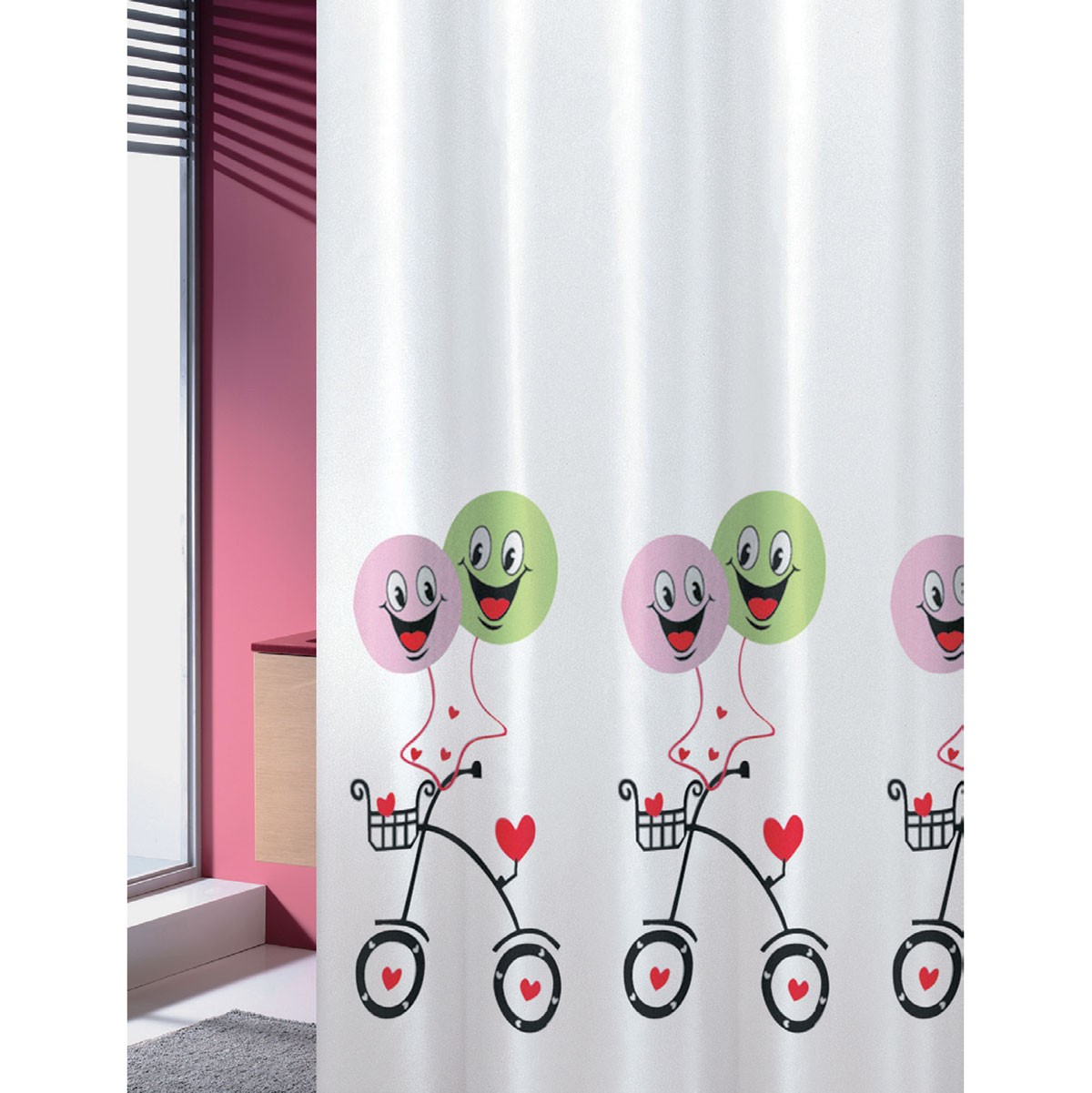 Κουρτίνα Μπάνιου Υφασμάτινη Balloons Joy Bath 180×200εκ. – Joy Bath Accessories – balloons