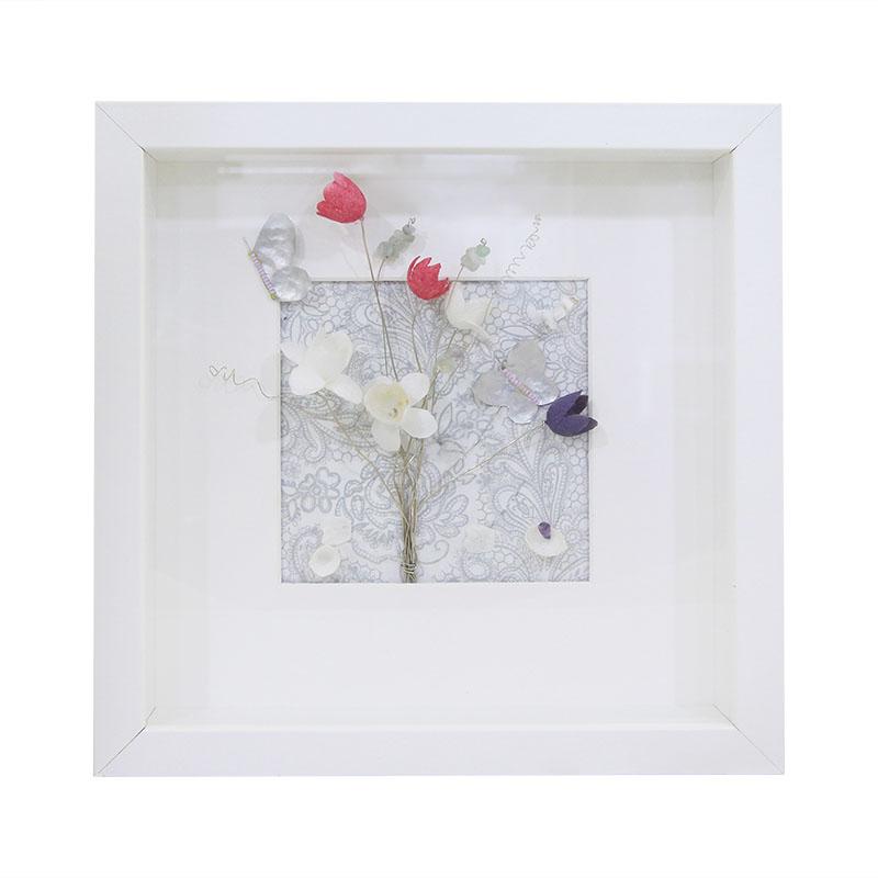 Κάδρο Με Τριασδιάστατη Παράσταση – Κουκούλια 25×25εκ. – OEM – kadro-koukouli-white
