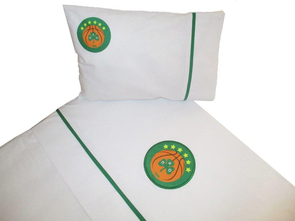 Σεντόνια Bebe Σετ 3τμχ Βαμβακερά Le Blanc Panathinaikos B.C. Official Six Stars – Le Blanc – 7010602-1