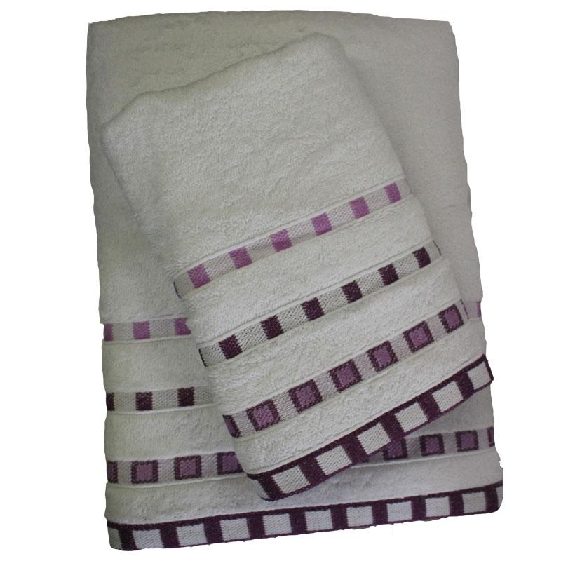 Σετ Πετσέτες 2τμχ Πεννιέ Ζακάρ Eva White-Lilac 24home – 24home.gr – 24-eva-white-lilac