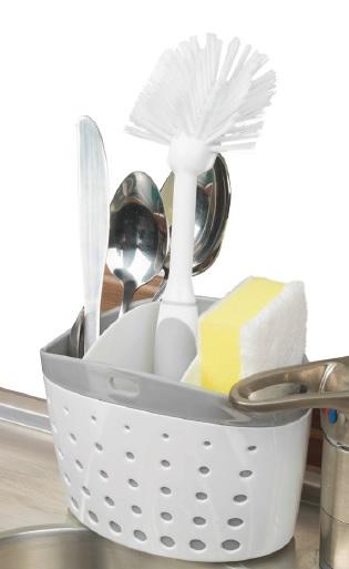 Θήκη Νεροχύτη Τριπλή Πλαστική Veltihome 46-31157 (Υλικό: Πλαστικό, Χρώμα: Λευκό) - VELTIHOME - 46-31157