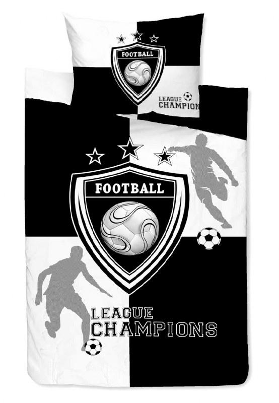 Σετ Σεντόνια Μονά 160×240εκ. Εμπριμέ Team Black-White 24home – 24home.gr – 24-team-black-white-sent1
