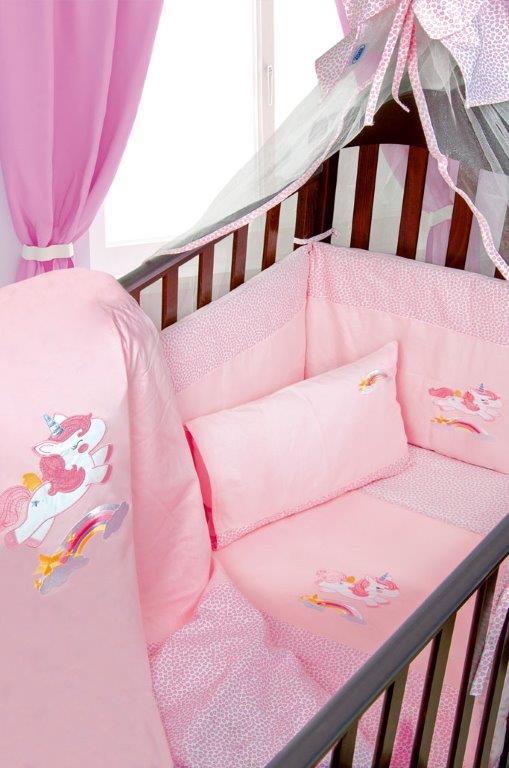 Σετ Κρεβατιού 7τμχ Μπεμπέ Unicorn 41 Dimcol (Ύφασμα: Βαμβάκι 100%, Χρώμα: Ροζ) – DimCol – 1212510006404126