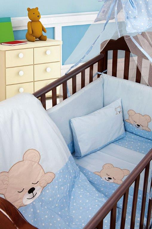 Σετ Κρεβατιού 7τμχ Μπεμπέ Sleeping Bear Cub 13 Dimcol (Ύφασμα: Βαμβάκι 100%, Χρώμα: Μπλε) – DimCol – 1212510001701328
