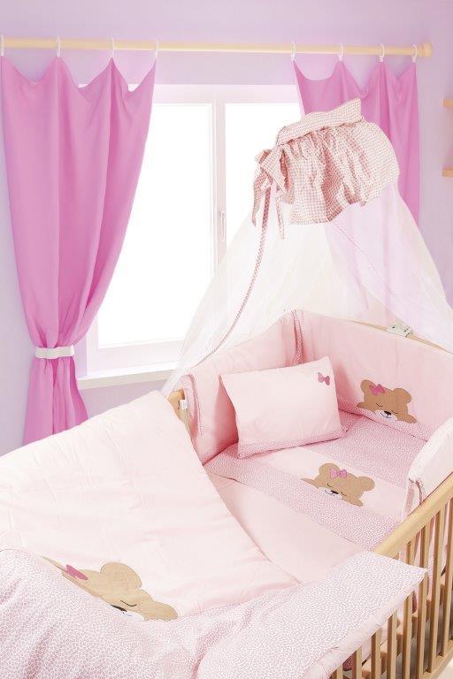 Σετ Κρεβατιού 7τμχ Μπεμπέ Sleeping Bear Cub 14 Dimcol (Ύφασμα: Βαμβάκι 100%, Χρώμα: Ροζ) – DimCol – 1212510001701426