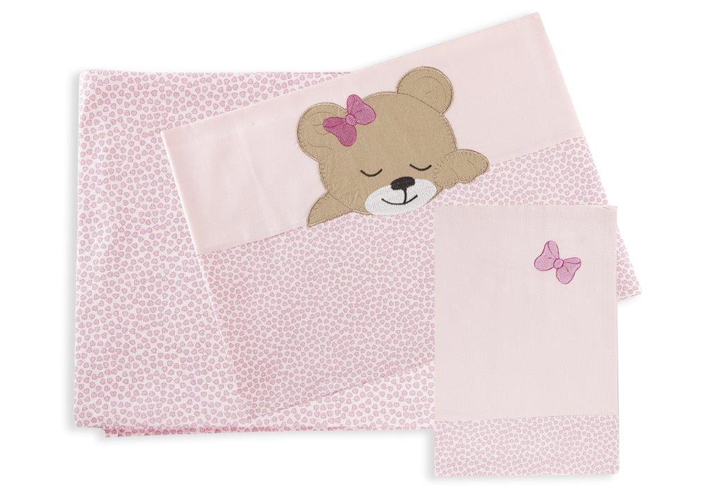 Σετ Σεντόνια Μπεμπέ 120×170εκ. Sleeping Bears Cub 14 Dimcol. (Ύφασμα: Βαμβάκι 100%, Χρώμα: Ροζ) – DimCol – 1212614601701426