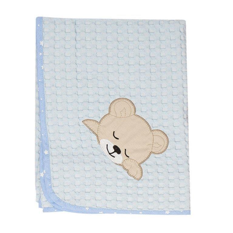 Κουβέρτα Αγκαλιάς Πικέ 80x110εκ. Sleeping Bears Cub 14 Dim Collection (Ύφασμα: Βαμβάκι 100%, Χρώμα: Γαλάζιο ) - DimCol - 1210413701701428
