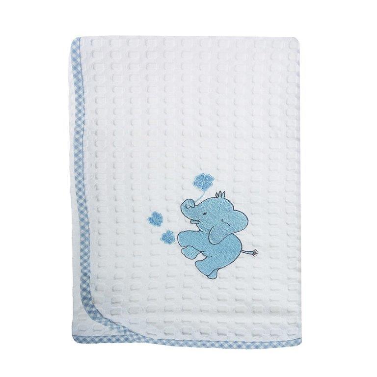 Κουβέρτα Αγκαλιάς Πικέ 80×110εκ. Ελεφαντάκια 113 Dim Collection (Ύφασμα: Βαμβάκι 100%, Χρώμα: Λευκό) – DimCol – 1210413705711320