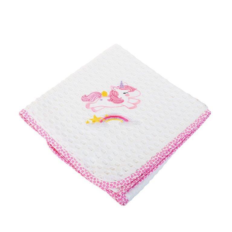 Κουβέρτα Αγκαλιάς Πικέ 80×110εκ. Unicorn 42 Dim Collection (Ύφασμα: Βαμβάκι 100%, Χρώμα: Λευκό) – DimCol – 1210413706404219