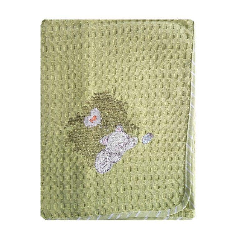Κουβέρτα Κούνιας Πικέ 110×160εκ. Γατάκι 128 Dim Collection (Ύφασμα: Βαμβάκι 100%, Χρώμα: Λαχανί ) – DimCol – 1210414202312816