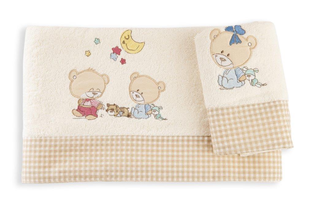 Σετ Πετσέτες 2τμχ Μπεμπέ Happy Bears 22 Dim Collection (Ύφασμα: Βαμβάκι 100%, Χρώμα: Εκρού ) – DimCol – 1212115800802207