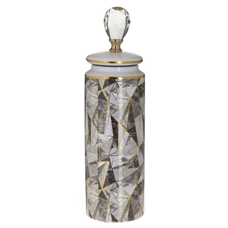 Βάζο Με Καπάκι Κεραμικό inart 12,5x12,5x45εκ. 3-70-902-0074 - inart - 3-70-902-0074