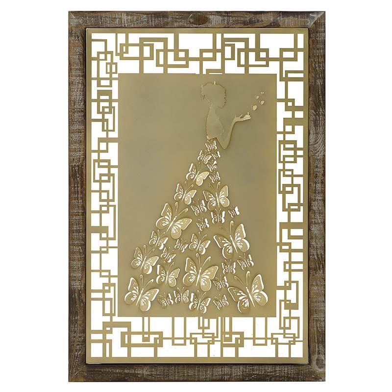 Πίνακας Μεταλλικός-Ξύλινος inart 70x2x100εκ. 3-90-092-0002 (Υλικό: Ξύλο) - inart - 3-90-092-0002