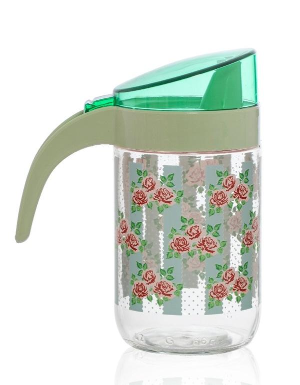 Δοχείο Για Λάδι-Ξύδι Γυάλινο Φλοράλ 660ml VELTIHOME – VELTIHOME – 15114-floral