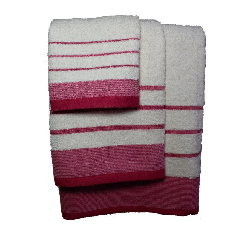 Σετ πετσέτες 3τμχ Βαμβακερές Raya Ekrou-Fouchsia 24home – 24home.gr – raya-ekrou-fouchsia