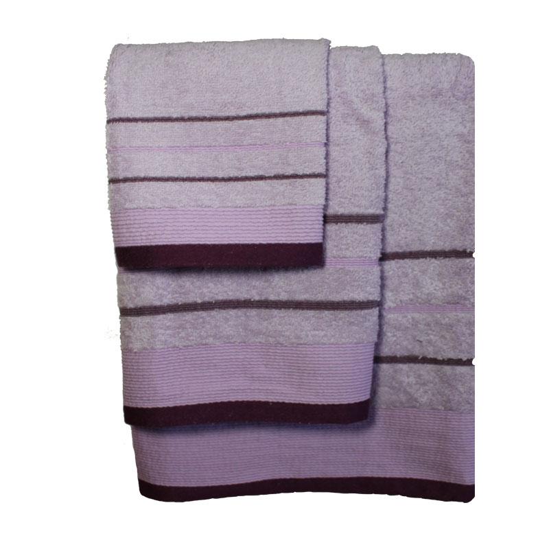 Σετ πετσέτες 3τμχ Βαμβακερές Raya Lilac-Purple 24home – 24home.gr – raya-lilac-purple