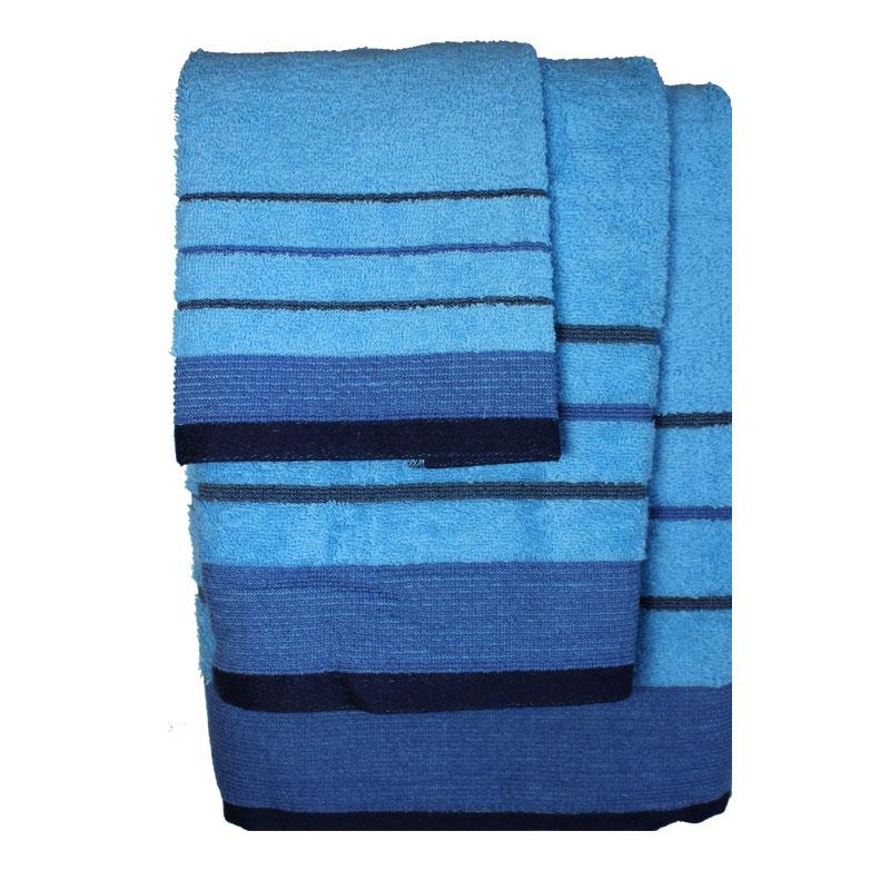 Σετ πετσέτες 3τμχ Βαμβακερές Raya Tyrqoise-Blue 24home – 24home.gr – raya-tyrqoise-blue