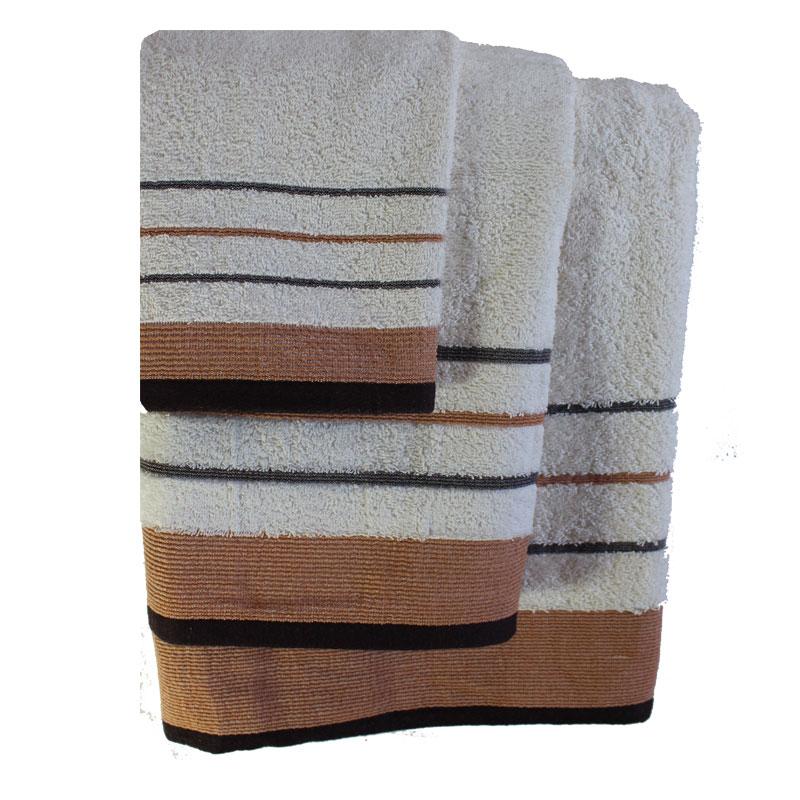 Σετ πετσέτες 3τμχ Βαμβακερές Raya Ekrou-Brown 24home – 24home.gr – raya-ekrou-brown