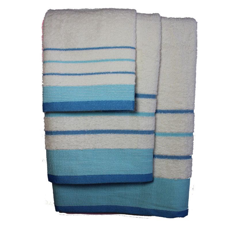 Σετ πετσέτες 3τμχ Βαμβακερές Raya Ekrou-Tyrqoise 24home – 24home.gr – raya-ekrou-tyrqoise
