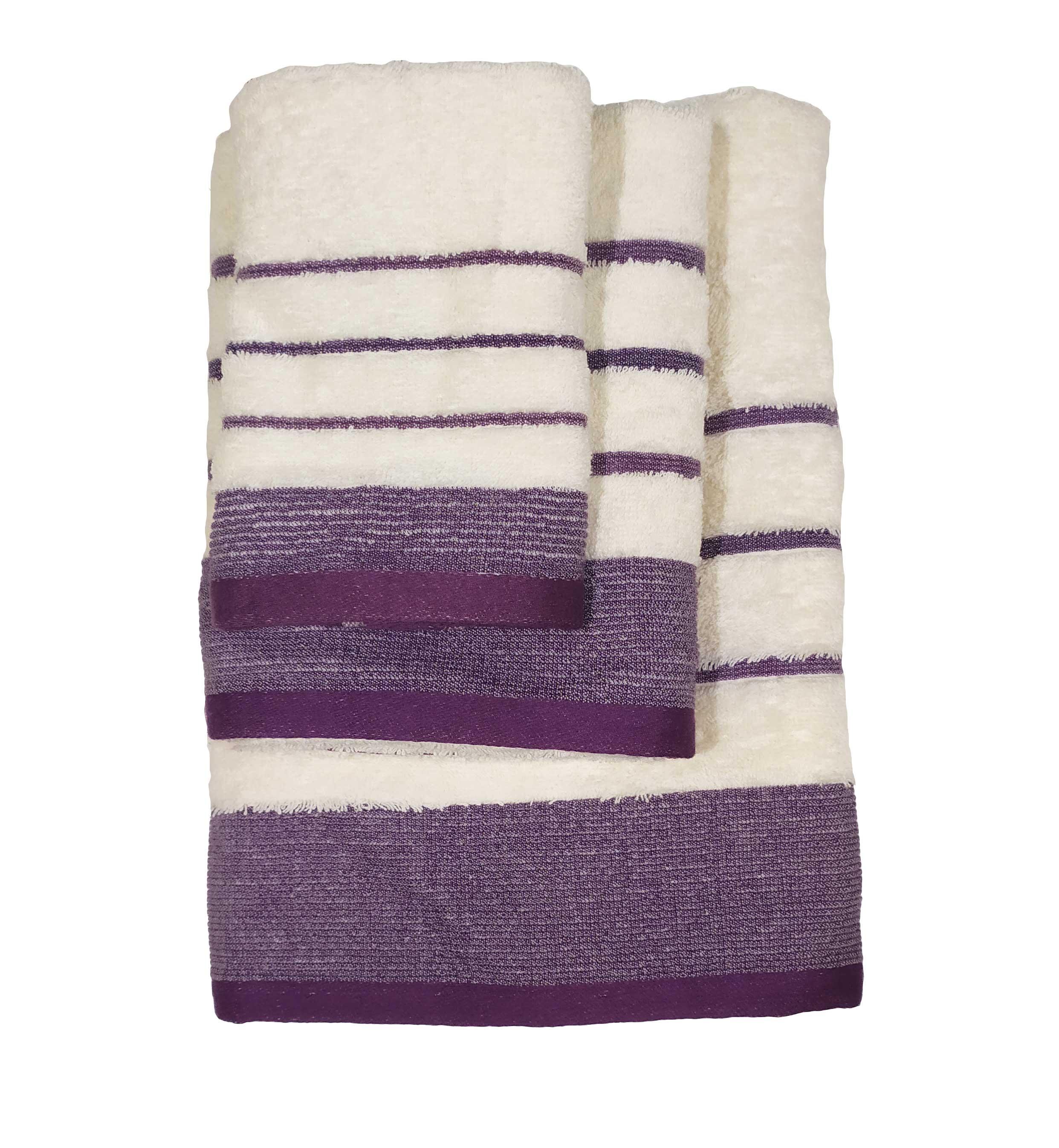 Σετ πετσέτες 3τμχ Βαμβακερές Raya Ekrou-Purple 24home – 24home.gr – raya-ekrou-purple