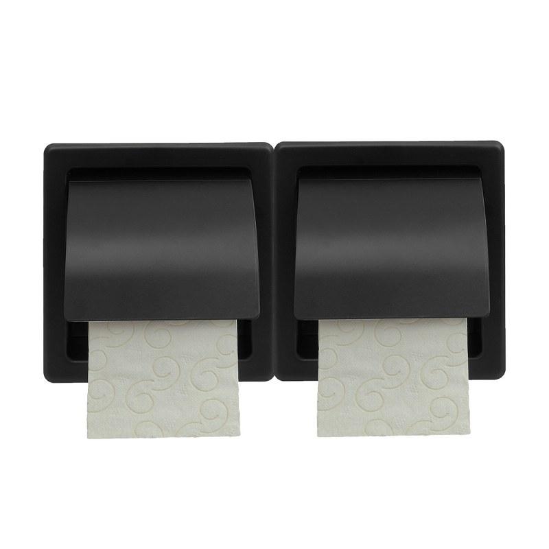 Χαρτοθήκη Διπλή Επιτοίχια Με Καπάκι 30x7x15,5εκ. Pam & Co 110-403 (Χρώμα: Μαύρο) - Pam & Co - 110-403