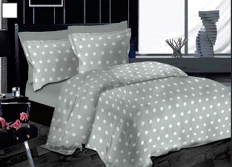 Σετ Σεντόνια Μονά 170×245εκ. Εμπριμέ Dots Grey Le Blanc – Le Blanc – 7000221-18