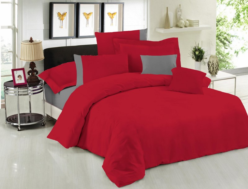 Σετ Σεντόνια Υπέρδιπλα 220×240εκ. Με Φάσα Red-Grey 24home (Ύφασμα: 50%Cotton-50%Polyester, Χρώμα: Κόκκινο) – 24home.gr – 24-fasa-red-grey