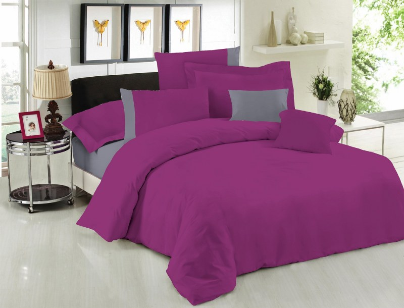 Σετ Σεντόνια Υπέρδιπλα 220×240εκ. Με Φάσα Purple-Grey 24home (Ύφασμα: 50%Cotton-50%Polyester, Χρώμα: Γκρι) – 24home.gr – 24-fasa-purple-grey