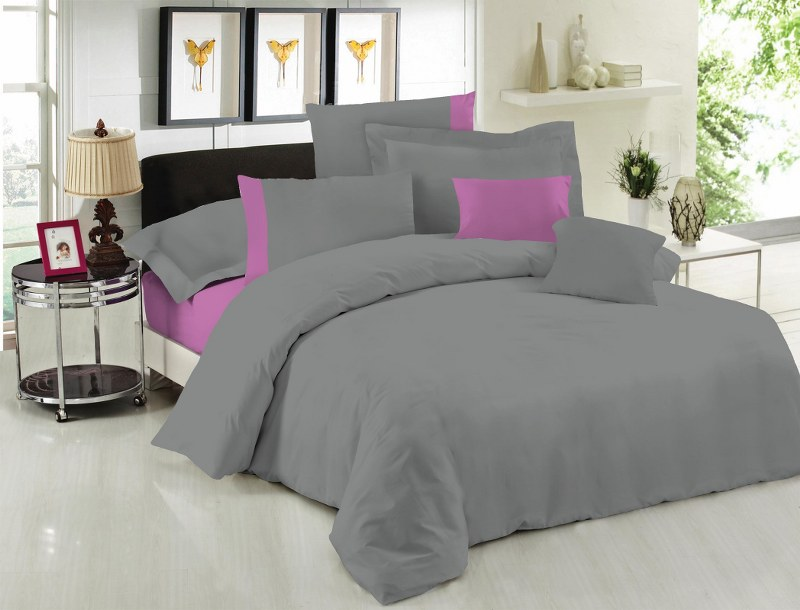 Σετ Σεντόνια Υπέρδιπλα 220×240εκ. Με Φάσα Grey-Lilac 24home (Ύφασμα: 50%Cotton-50%Polyester, Χρώμα: Λιλά) – 24home.gr – 24-fasa-grey-lilac