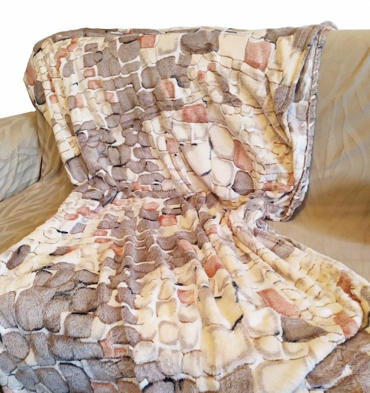 Κουβέρτα Καναπέ 100×150εκ. Ανάγλυφη Fleece Brownie – OEM – brownie-k1