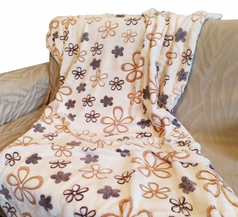 Κουβέρτα Καναπέ 100×150εκ. Ανάγλυφη Fleece Flowers – OEM – flowers-k1